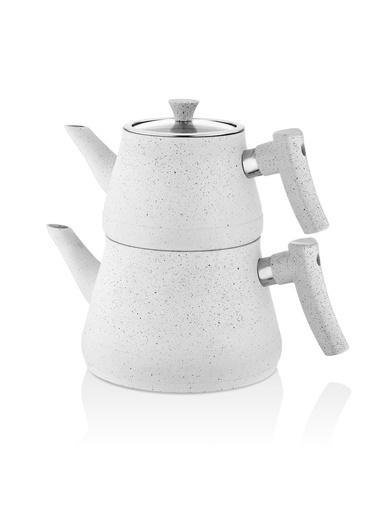 Bayev Bakalit Saplı Granit Çaydanlık-Rosegold-200617 Beyaz